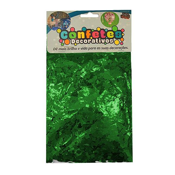 Confete Mini Picadinho Metalizado 25g - Verde Escuro Dupla Face - Rizzo Embalagens