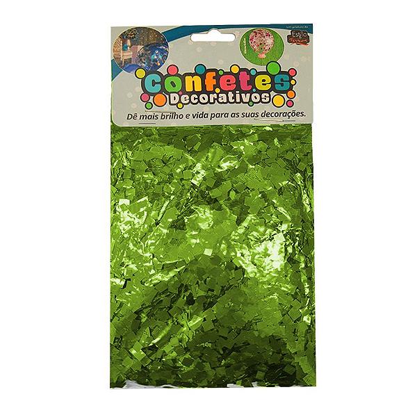 Confete Mini Picadinho Metalizado 25g - Verde Lima Dupla Face - Rizzo Embalagens