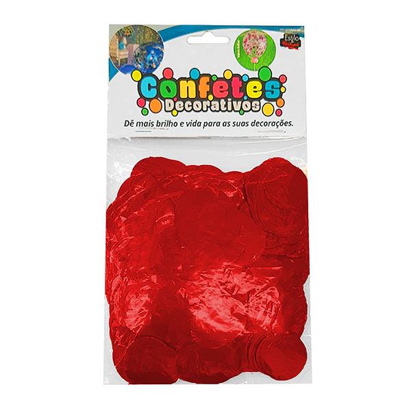 Confete Redondo Metalizado 25g - Vermelho Dupla Face - Rizzo Embalagens