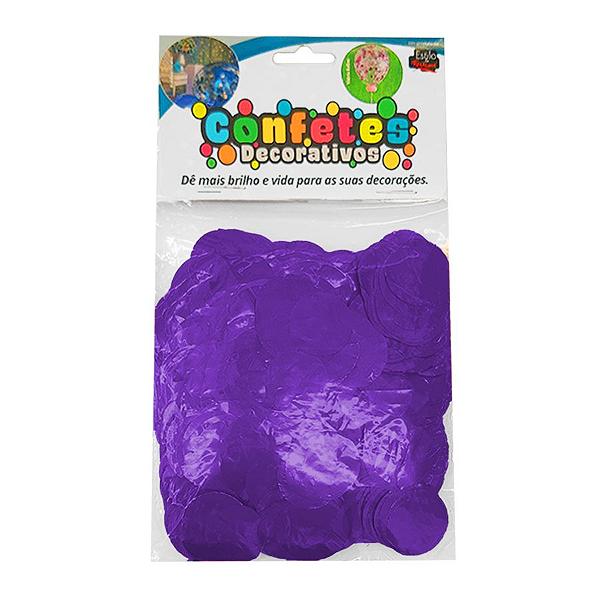 Confete Redondo Metalizado 25g - Roxo Dupla Face - Rizzo Embalagens