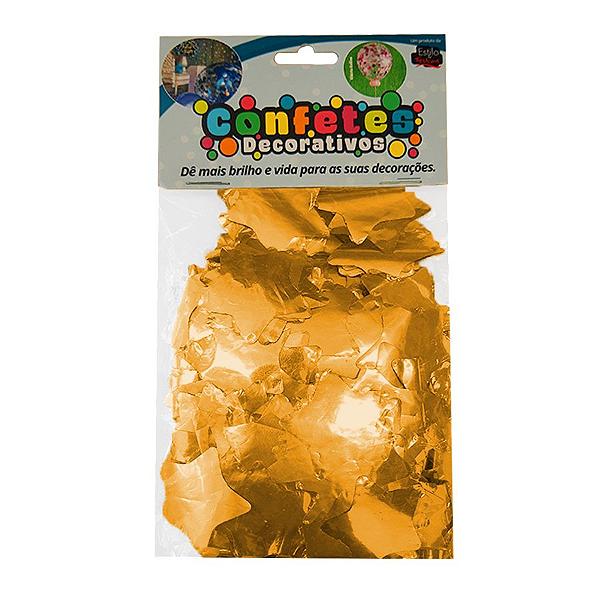 Confete Estrela Metalizado 25g - Dourado Dupla Face - Rizzo Embalagens