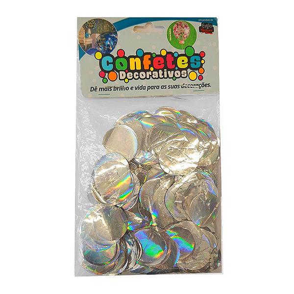 Confete Redondo Metalizado 25g - Holografico Dupla Face - Rizzo Embalagens