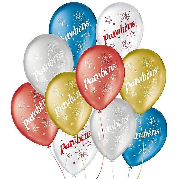 """Balão de Festa Decorado Parabéns - Sortido Cintilante 9"""" 23cm - 25 Unidades - São Roque - Rizzo Balões"""