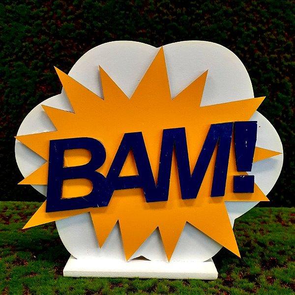 Decoração MDF  Placa Bam - Amarelo e Azul - 01 Unidade - Mara Móveis - Rizzo