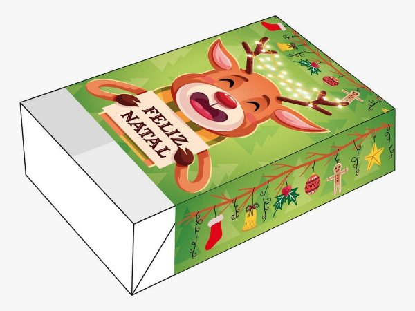 Caixa Divertida Feliz Natal Rena Ref. 1149 - 6 doces - 10 unidades - Erika Melkot - Rizzo Embalagens