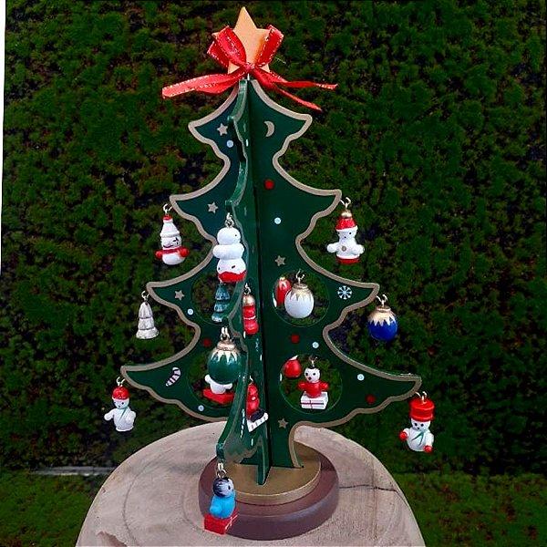 Árvore de Natal de madeira Pequena - 20cm - 1 unidade - Global Master - Rizzo