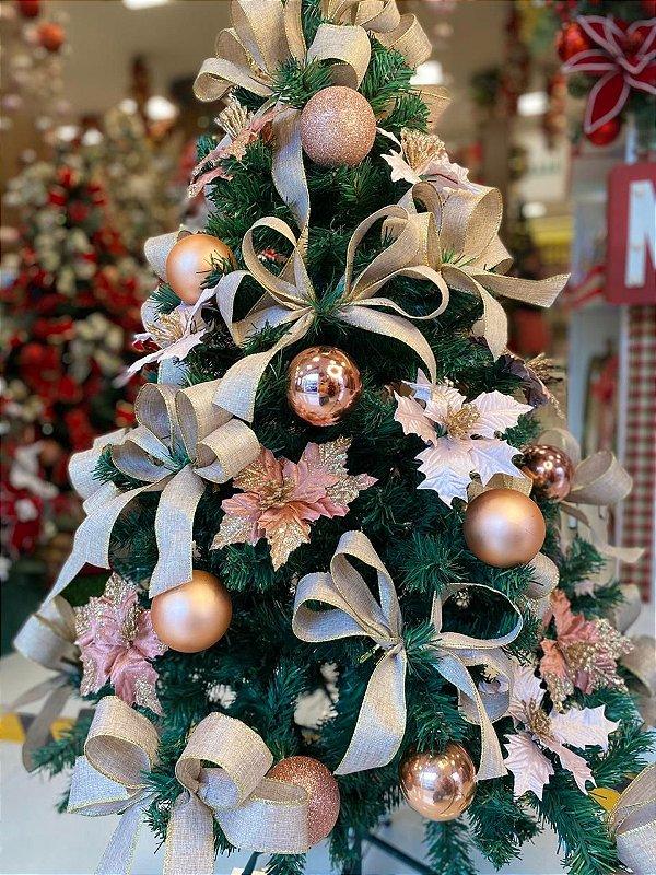Kit Decoração Rosê Gold para Árvore de Natal 120cm - 01 unidade - Cromus Natal - Rizzo Embalagens