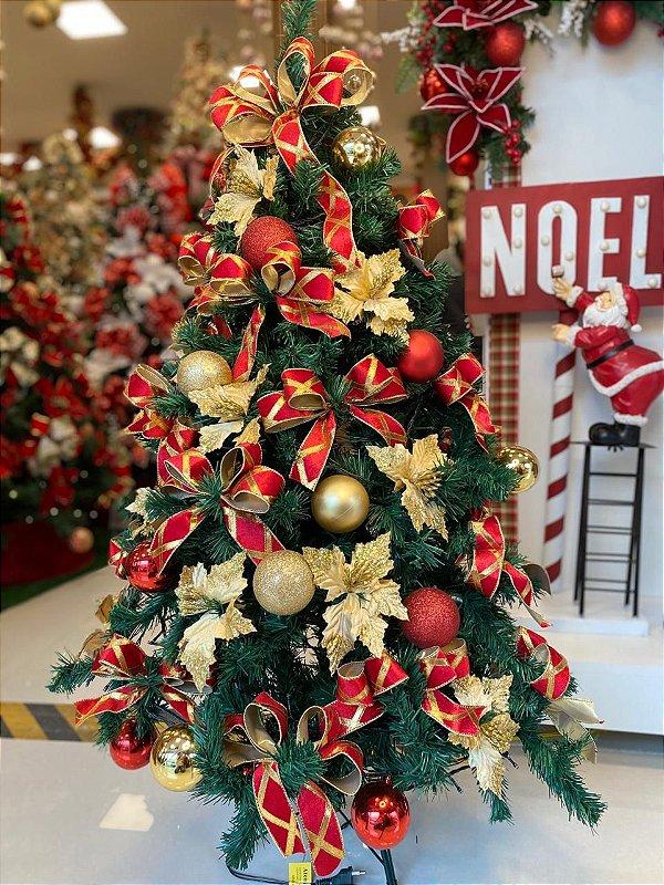 Kit Decoração Vermelho com Dourado para Árvore de Natal 120cm - 01 unidade - Cromus Natal - Rizzo Embalagens