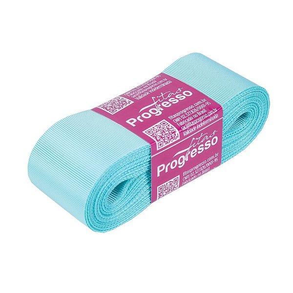 Fita Gorgurão Progresso 38mm nº9 - 10m Cor 247 Azul Tiffany - 01 unidade - Rizzo Embalagens