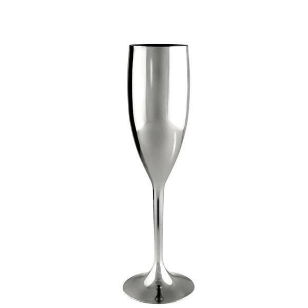 Taça Champanhe Metalizada Prata - 01 Unidade - Rizzo Festas