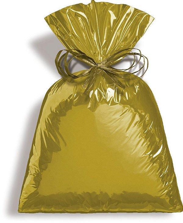 Saco Metalizado Dourado 8x22cm - 50 unidades - Cromus - Rizzo Embalagens
