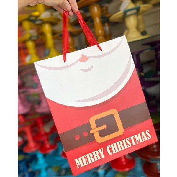 Sacola Decorada Natal G Merry Christmas - 01 unidade - Rizzo Embalagens