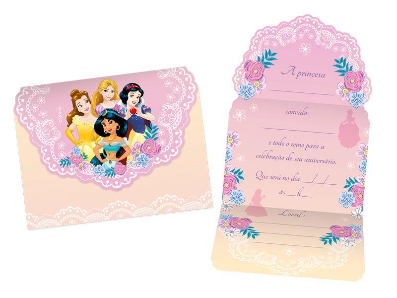Convite Festa Disney Princesas - 8 Unidades - Regina - Rizzo Festas