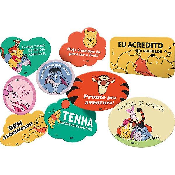 Kit Plaquinhas Divertidas Festa Pooh e Sua Turma - 09 unidades - Festcolor - Rizzo Festas