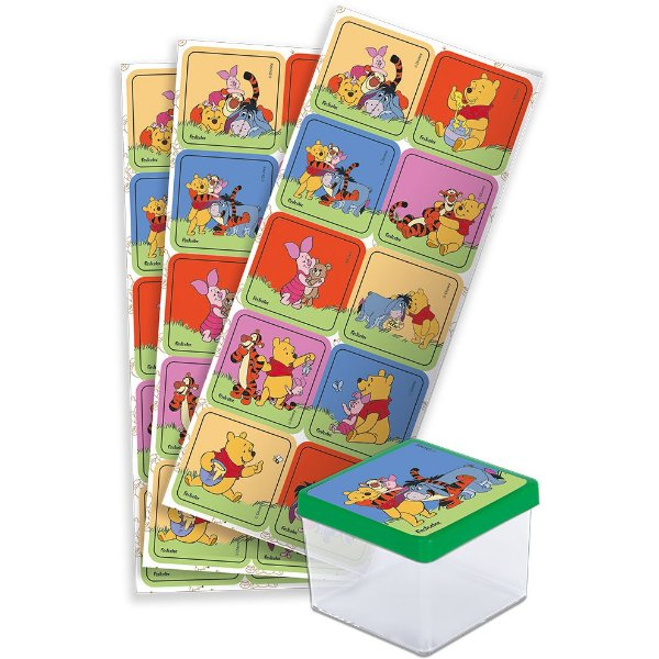 Adesivo Quadrado Festa Pooh e sua Turma  - 30 unidades - Festcolor - Rizzo Festas