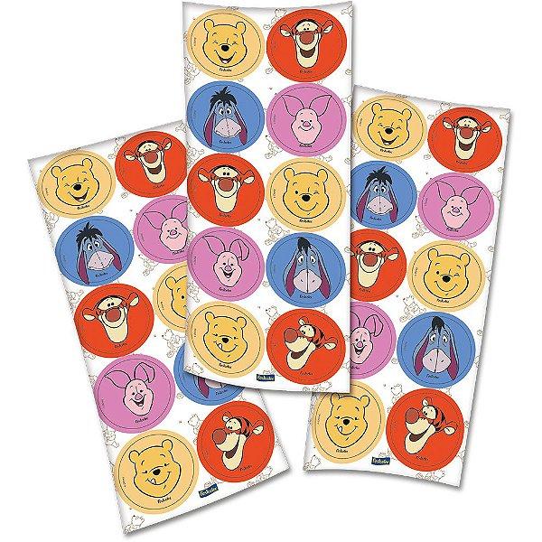 Adesivo Redondo Festa Pooh e Sua Turma - 30 unidades - Festcolor - Rizzo Festas