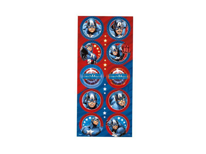 Adesivo Redondo para Lembrancinha Festa Capitão América - 30 Unidades - Regina - Rizzo Festas