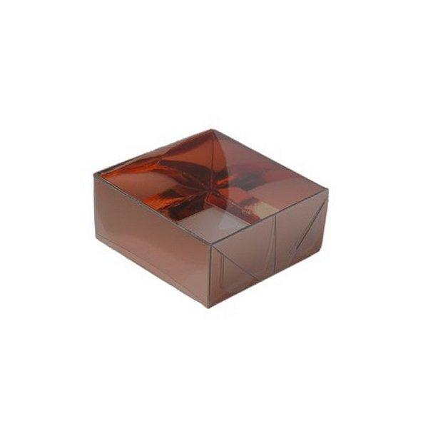 Caixa com Tampa Transparente PVC Nº 4 Marrom - 12cm x 4,5cm x 3,5cm - 10 unidades Assk Rizzo Embalagens