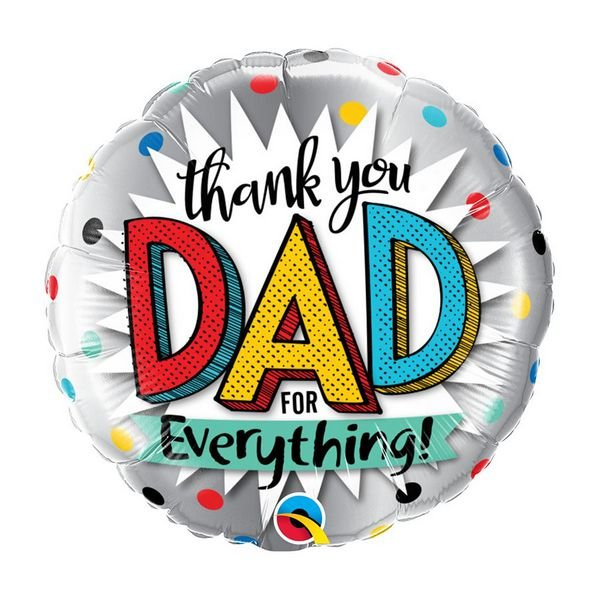 "Balão de Festa Bubble 18"" - Thank You Dad For Everything- 01 Unidade - Qualatex - Rizzo Embalagens"