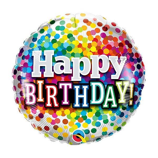 "Balão de Festa Bubble 18"" - Birthday Confete Arco-Iris- 01 Unidade - Qualatex - Rizzo Embalagens"