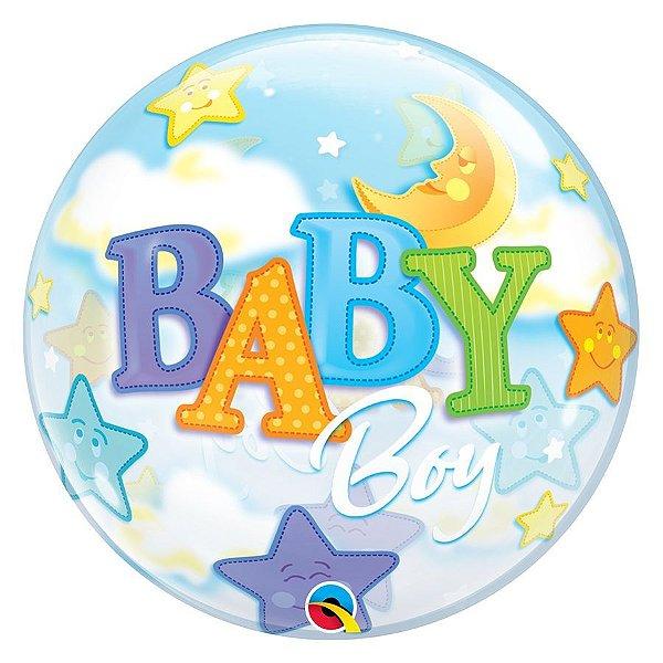 """Balão de Festa Bubble 22"""" - Baby Boy Lua e Estrelas - 01 Unidade - Qualatex - Rizzo Embalagens"""