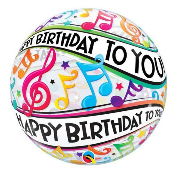 "Balão de Festa Bubble 22"" 56cm - Happy Birthday to You Notas - 01 Unidade - Qualatex - Rizzo Embalagens"