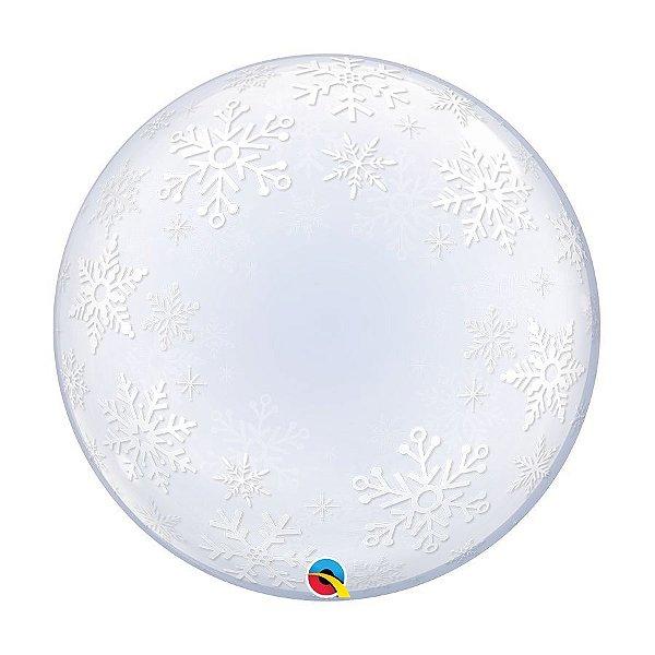"""Balão de Festa Bubble Duplo 24"""" 60cm - Flocos de Neve - 01 Unidade - Qualatex - Rizzo Balões"""