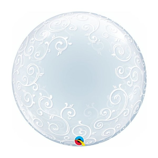 "Balão de Festa Bubble Duplo 24"" 60cm - Filigrana Chique Branco - 01 Unidade - Qualatex - Rizzo Embalagens"