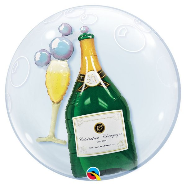 """Balão de Festa Bubble Duplo 24"""" 60cm - Garrada de Champagne e Taça - 01 Unidade - Qualatex - Rizzo Embalagens"""