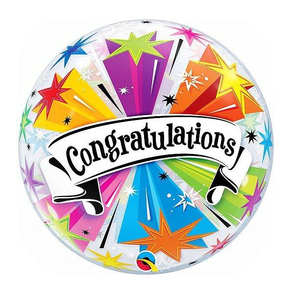 """Balão de Festa Bubble 22"""" 56cm - Congratulations - 01 Unidade - Qualatex - Rizzo Embalagens"""