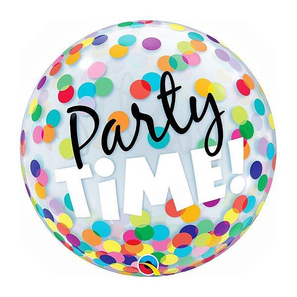 "Balão de Festa Bubble 22"" 56cm - Party Time Colorido - 01 Unidade - Qualatex - Rizzo Embalagens"
