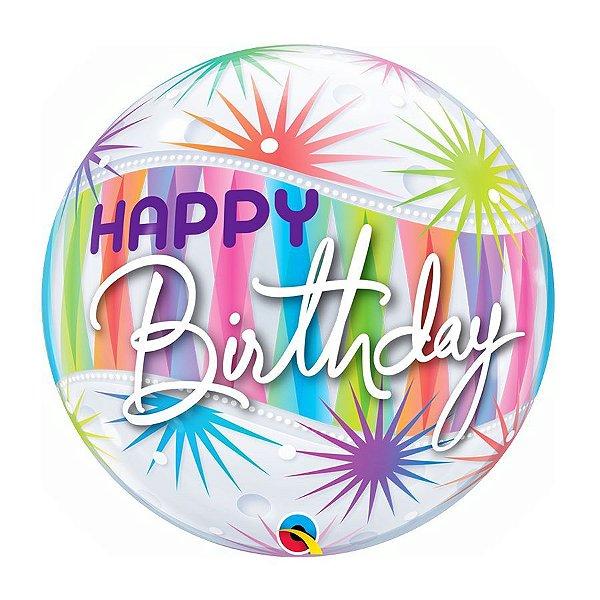 "Balão de Festa Bubble 22"" 56cm - Happy Birthday Explosão - 01 Unidade - Qualatex - Rizzo Embalagens"