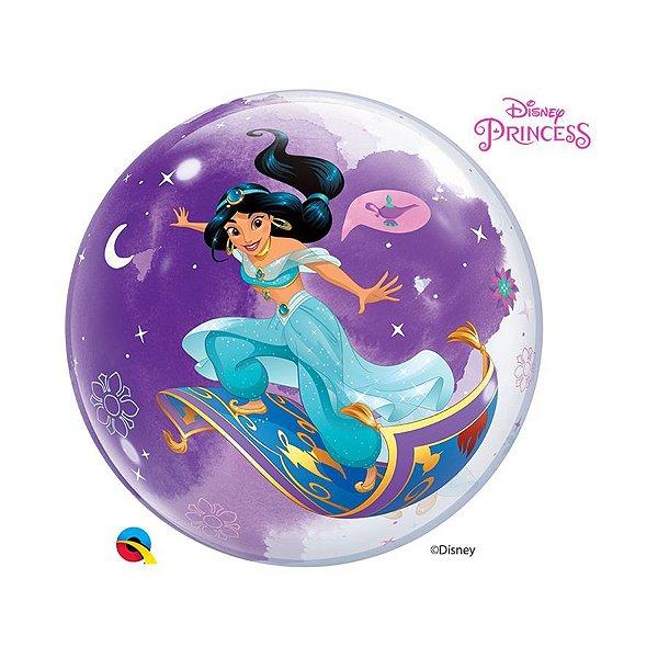 """Balão de Festa Bubble 22"""" 56cm - Princesa Jasmine - 01 Unidade - Qualatex Disney - Rizzo Balões"""