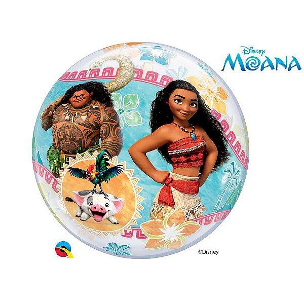 """Balão de Festa Bubble 22"""" 56cm - Moana - 01 Unidade - Qualatex Disney - Rizzo Balões"""