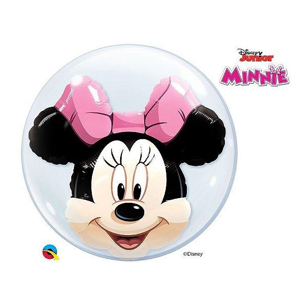 """Balão de Festa Bubble Duplo 24"""" 60cm - Minnie - 01 Unidade - Qualatex Disney - Rizzo Balões"""