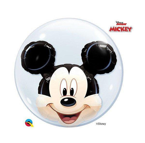 "Balão de Festa Bubble Duplo 24"" 60cm - Mickey - 01 Unidade - Qualatex Disney - Rizzo Embalagens"