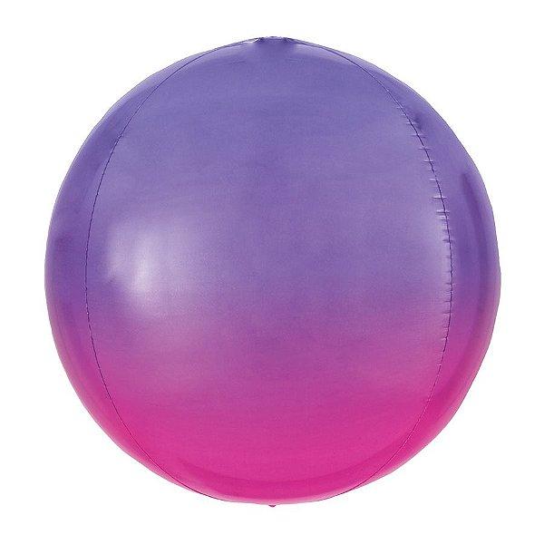 Balão de Festa Bubble - Metal Degradê Violeta - 01 Unidade - Cromus - Rizzo Balões