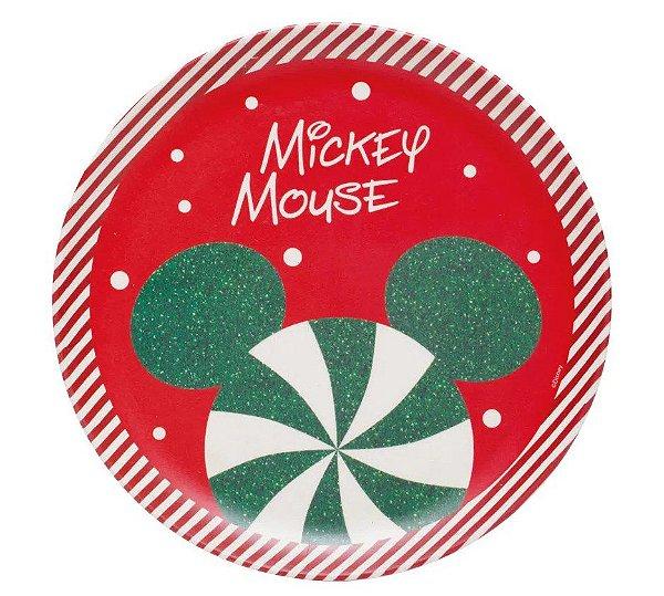Prato Sobremesa Fibra de Bambu Mickey   18cm - 01 unidade - Natal Disney - Cromus - Rizzo Embalagens