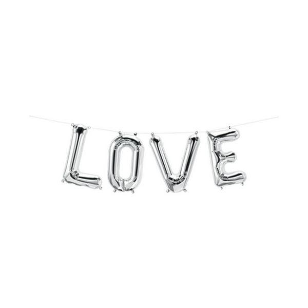 """Balão de Festa Microfoil 16"""" 40cm - Love Prata - 01 Unidade - Qualatex - Rizzo Embalagens"""