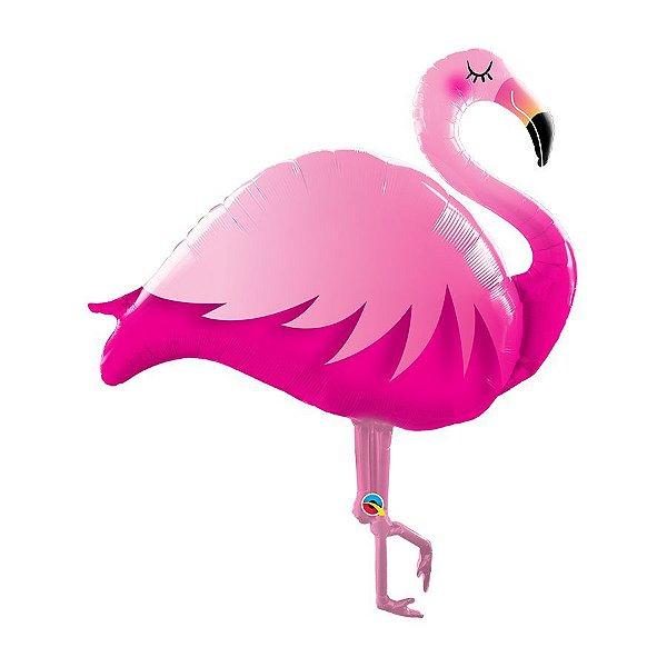 """Balão de Festa Microfoil 46"""" 117cm - Flamingo Rosa - 01 Unidade - Qualatex - Rizzo Embalagens"""