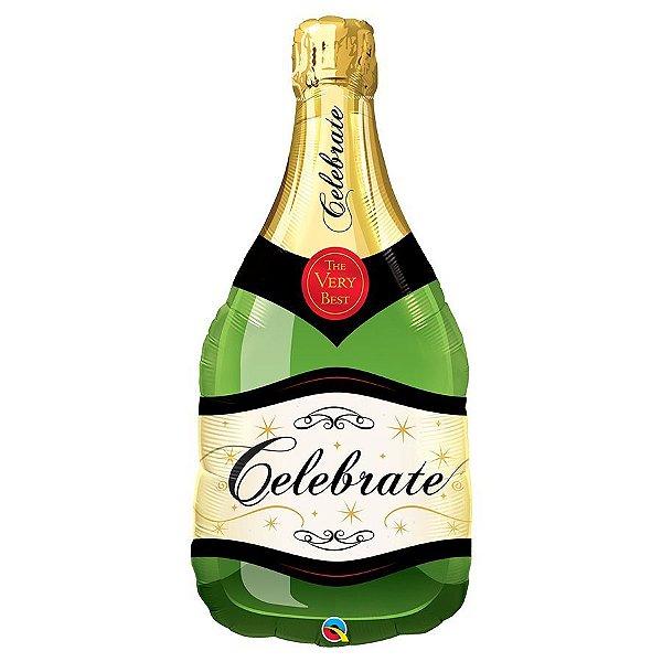 """Balão de Festa Microfoil 39"""" 99cm - Garrafa Celebrate Espumante - 01 Unidade - Qualatex - Rizzo Embalagens"""