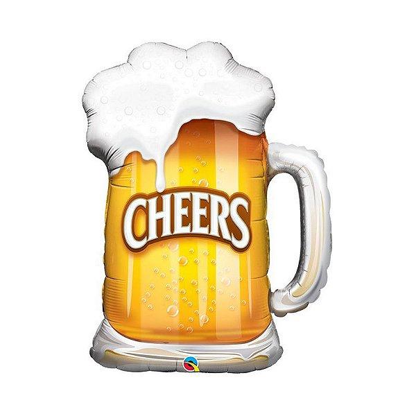 """Balão de Festa Microfoil 35"""" 89cm - Caneca de Cerveja Cheers - 01 Unidade - Qualatex - Rizzo Embalagens"""