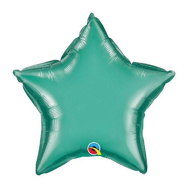 """Balão de Festa Microfoil 20"""" 51cm - Estrela Chrome Verde - 01 Unidade - Qualatex - Rizzo Embalagens"""