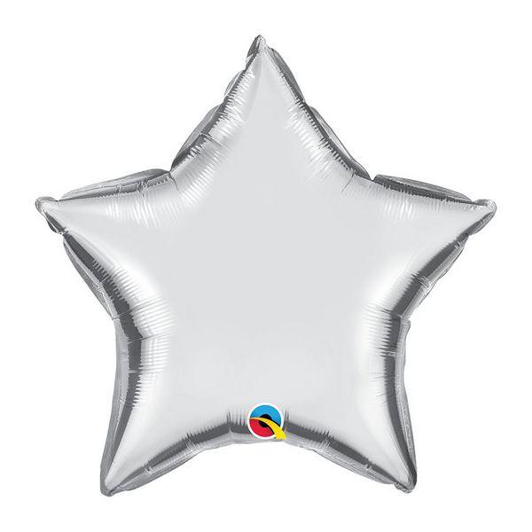 """Balão de Festa Microfoil 20"""" 51cm - Estrela Prata Metalizado - 01 Unidade - Qualatex - Rizzo Embalagens"""