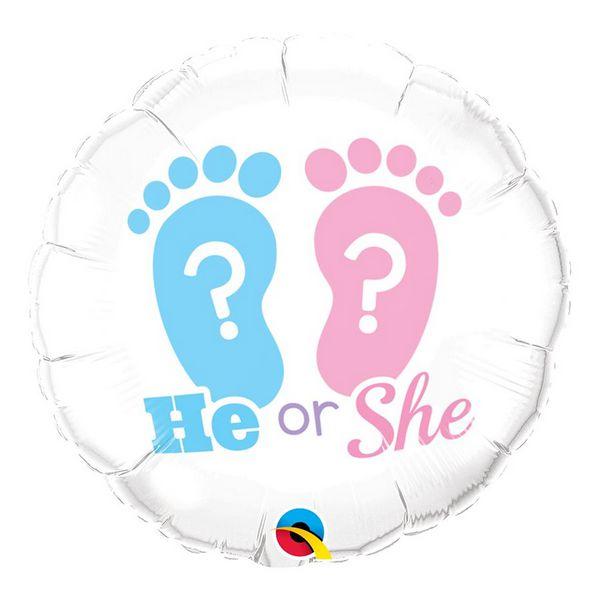 """Balão de Festa Microfoil 18"""" 45cm - He or She? - 01 Unidade - Qualatex - Rizzo Embalagens"""