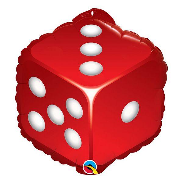 """Balão de Festa Microfoil 18"""" 45cm - Dados Vermelhos - 01 Unidade - Qualatex - Rizzo Embalagens"""