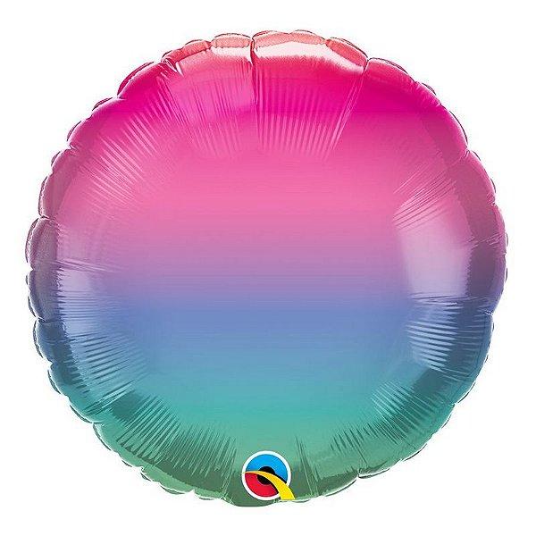 """Balão de Festa Microfoil 18"""" 45cm - Redondo Ombré Arco-íris - 01 Unidade - Qualatex - Rizzo Embalagens"""