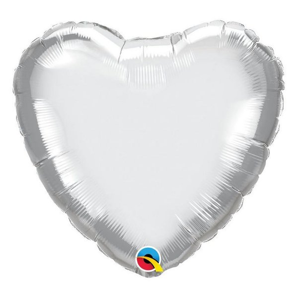 """Balão de Festa Microfoil 18"""" 45cm - Coração Chrome Prata - 01 Unidade - Qualatex - Rizzo Embalagens"""