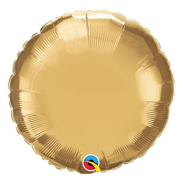 """Balão de Festa Microfoil 18"""" 45cm - Redondo Chrome Ouro - 01 Unidade - Qualatex - Rizzo Embalagens"""