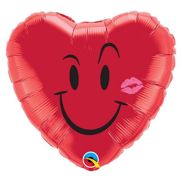 """Balão de Festa Microfoil 18"""" 45cm - Coração Sorriso e Beijo - 01 Unidade - Qualatex - Rizzo Embalagens"""